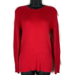 LL Bean Sweater Medium Red Ribbed Pullover LSleeve